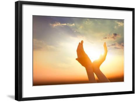Hands Holding the Sun at Dawn-Masson-Framed Art Print