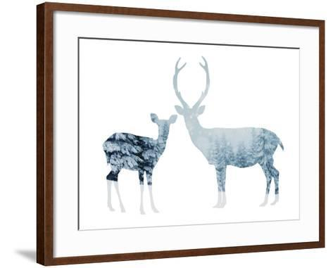 Deer in a Snowy Forest--Framed Art Print