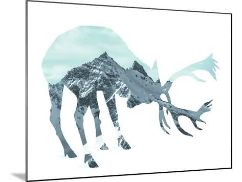 Mountain - Deer - Silhouette--Mounted Photographic Print
