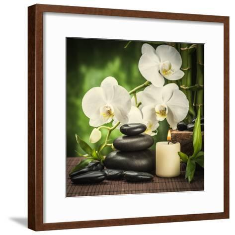 Spa Concept with Zen Basalt Stones and Orchid-scorpp-Framed Art Print