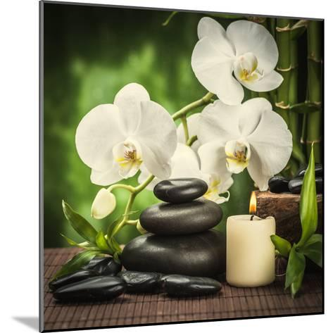 Spa Concept with Zen Basalt Stones and Orchid-scorpp-Mounted Photographic Print