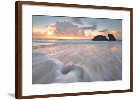 Sunrise and Ocean Flows at Watonga Rocks-lovleah-Framed Art Print