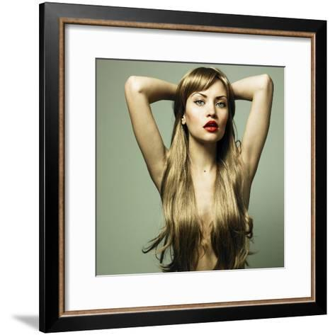 Beautiful Woman with Green Eyes-George Mayer-Framed Art Print