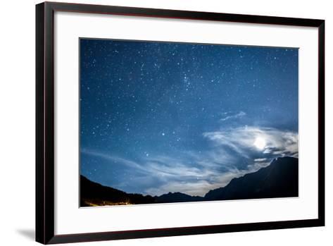 Night Sky Stars and Moon across Mountain-gianni triggiani-Framed Art Print