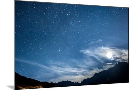 Night Sky Stars and Moon across Mountain-gianni triggiani-Mounted Photographic Print