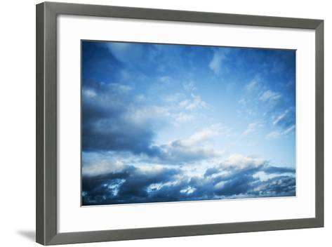 Dark Blue Sky with Clouds, Abstract Photo Background-Eugene Sergeev-Framed Art Print