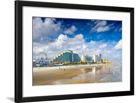 Daytona Beach, Florida, USA Beachfront Skyline.-SeanPavonePhoto-Framed Art Print