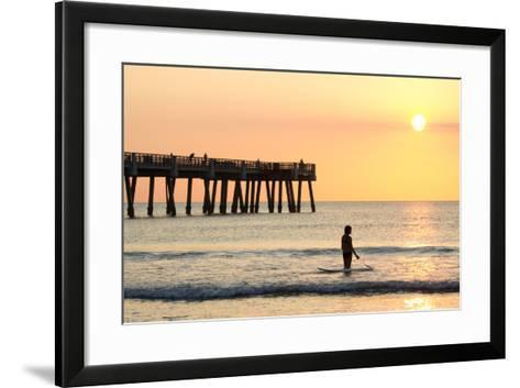 Early Morning at the Pier in Jacksonville Beach, Florida.-RobWilson-Framed Art Print