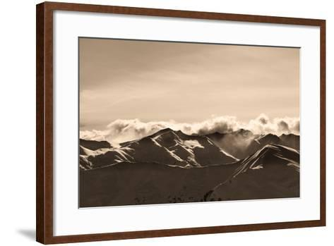 Sepia Evening Winter Mountains and Sunlight Clouds-BSANI-Framed Art Print