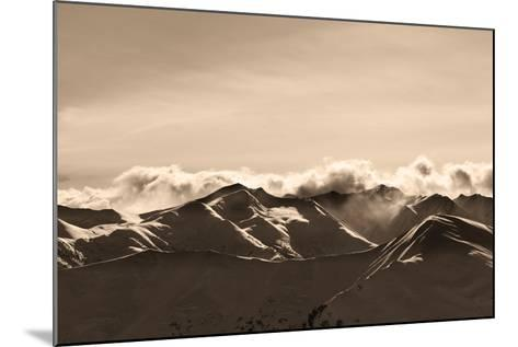 Sepia Evening Winter Mountains and Sunlight Clouds-BSANI-Mounted Photographic Print