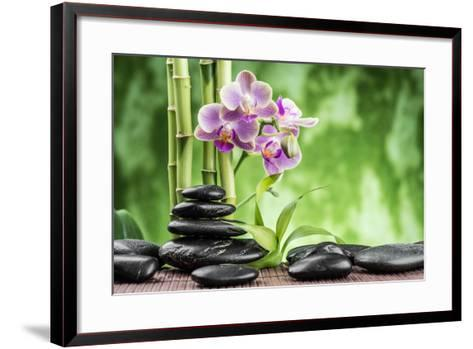Spa Concept with Zen Basalt Stones ,Orchid and Bamboo-scorpp-Framed Art Print