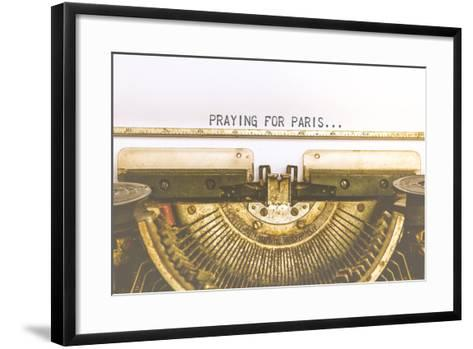 Typewriter and Empty White Paper with A Word Praying for Paris, Vintage Style-PongMoji-Framed Art Print