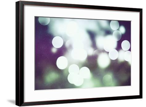 Festive Background with Natural Bokeh and Bright Golden Lights. Vintage Magic Background with Color-Maximusnd-Framed Art Print