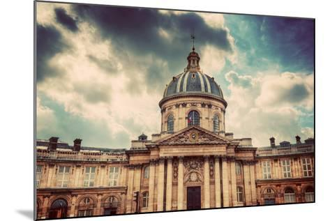 Institut De France in Paris. Famous Cupola, Dome of the Building against Clouds.-Michal Bednarek-Mounted Photographic Print