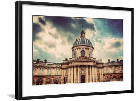 Institut De France in Paris. Famous Cupola, Dome of the Building against Clouds.-Michal Bednarek-Framed Art Print