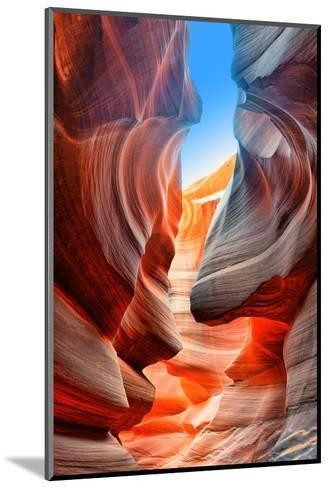 Sunlight Reflected off of the Red Rock Curves of the Antelope Canyon Slot Canyons in Page, Arizona.-lucky-photographer-Mounted Photographic Print