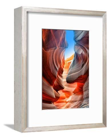 Sunlight Reflected off of the Red Rock Curves of the Antelope Canyon Slot Canyons in Page, Arizona.-lucky-photographer-Framed Art Print
