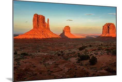 Monument Valley under the Blue Sky at Sunset-lucky-photographer-Mounted Photographic Print