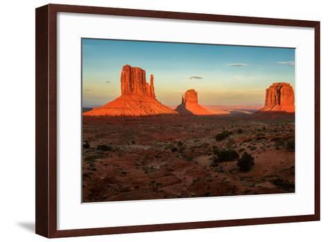 Monument Valley under the Blue Sky at Sunset-lucky-photographer-Framed Art Print