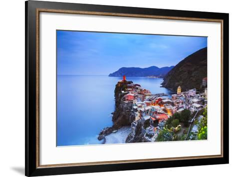 Vernazza Village, Aerial View on Sunset. Cinque Terre, Ligury, Italy-stevanzz-Framed Art Print