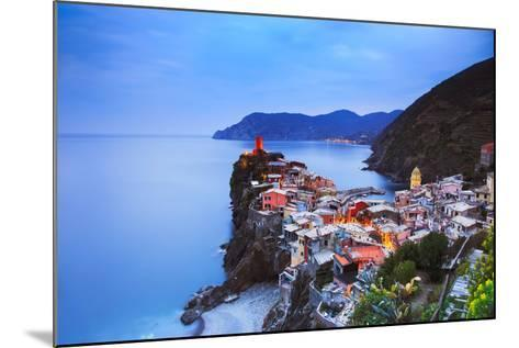Vernazza Village, Aerial View on Sunset. Cinque Terre, Ligury, Italy-stevanzz-Mounted Photographic Print