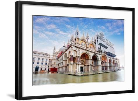 Basilica Di San Marco under Interesting Clouds, Venice, Italy-TTstudio-Framed Art Print