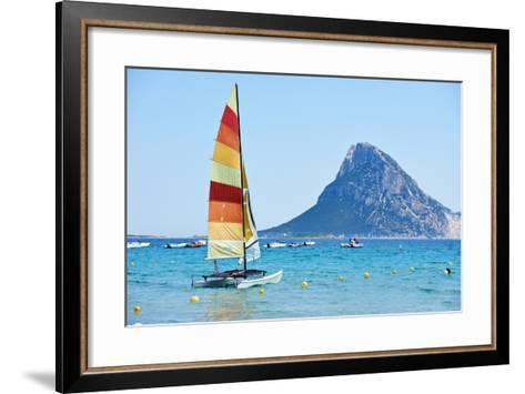Scenic Italy Sardinia Beach Resort Landscape with Sail Boat and Mountains-kadmy-Framed Art Print