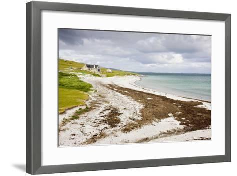Sandy Beach and Croft on Berneray (Bearnaraigh)--Framed Art Print