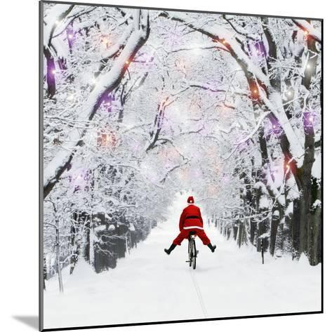 Father Christmas Riding Through Avenue in Winter--Mounted Photographic Print