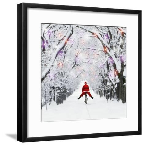 Father Christmas Riding Through Avenue in Winter--Framed Art Print