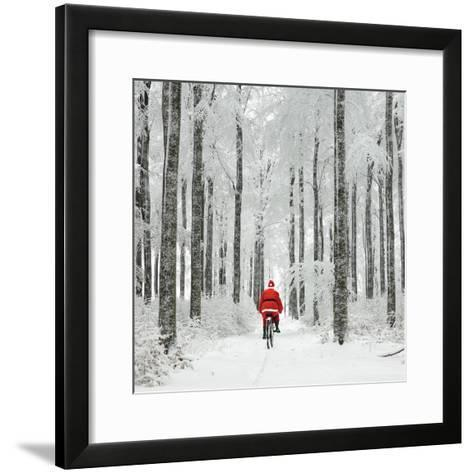 Father Christmas on a Bicycle in Snow--Framed Art Print