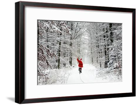Father Christmas Riding Bicycle Through Beech--Framed Art Print