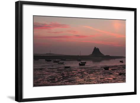 Lindisfarne Castle at Dawn over Harbour--Framed Art Print