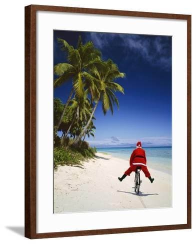 Father Christmas on Bicycle--Framed Art Print