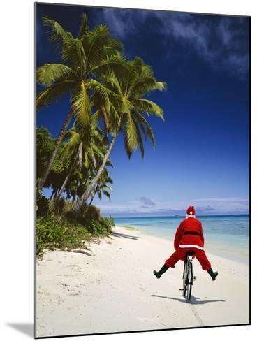 Father Christmas on Bicycle--Mounted Photographic Print