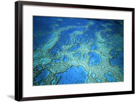 Hardy Reef Aerial of Coral Formations--Framed Art Print
