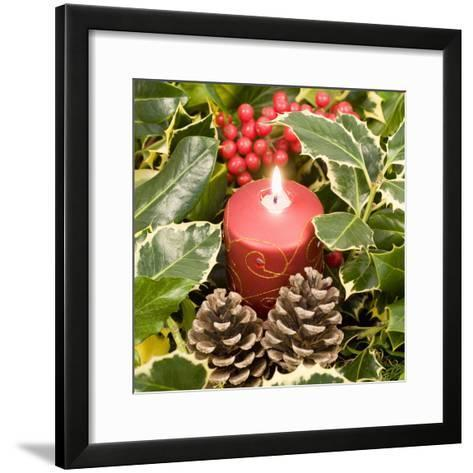 Christmas Candle and Holly Berries--Framed Art Print