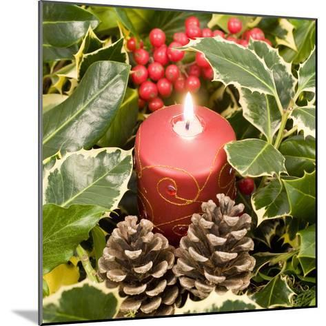 Christmas Candle and Holly Berries--Mounted Photographic Print