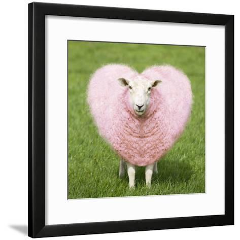 Sheep Ewe Pink Heart Shaped Wool--Framed Art Print