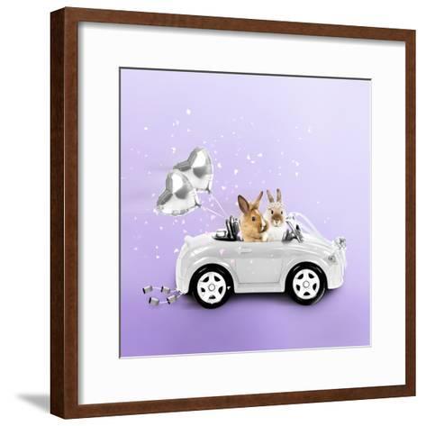 Rabbits Driving Wedding Car--Framed Art Print