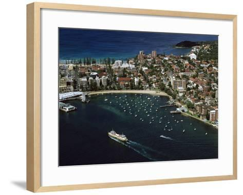 Manly and Manly Cove with Ferry Approaching Terminal--Framed Art Print