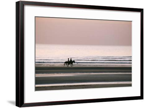Horse Horseback Riding on Beach by Sunset--Framed Art Print