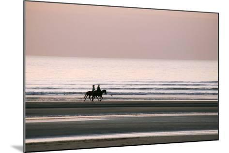 Horse Horseback Riding on Beach by Sunset--Mounted Photographic Print