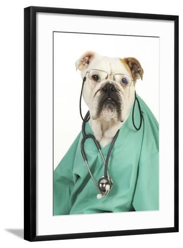 Bullin Vets Scrubs Wearing Glasses and Stethoscope--Framed Art Print