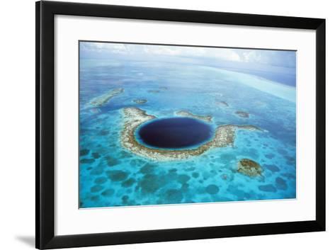 Belize Aerial of Belize Blue Hole--Framed Art Print