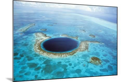 Belize Aerial of Belize Blue Hole--Mounted Photographic Print