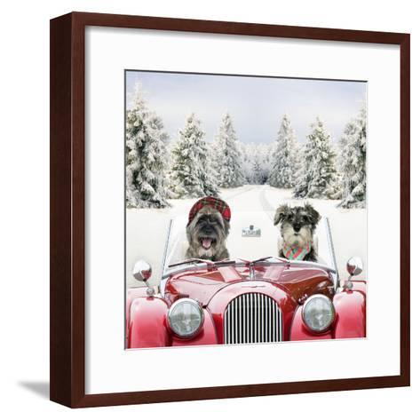 Driving Car Through a Snow Scene--Framed Art Print