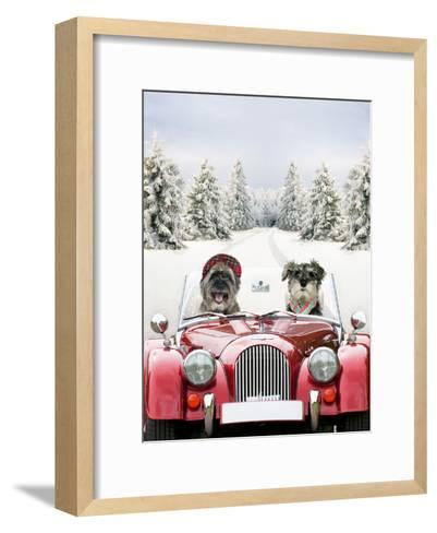 Driving Car Through a Snow Scene--Framed Art Print