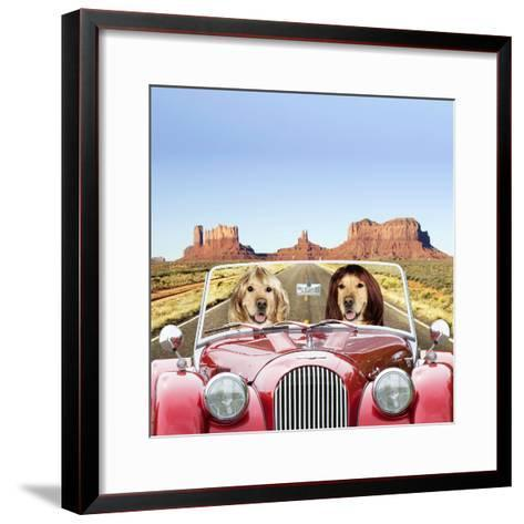 Golden Retrievers Driving Car Through Desert Scene--Framed Art Print