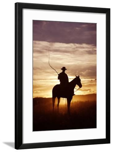 Cattleman Riding Quarter, Paint Horse at Sunset--Framed Art Print